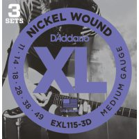 D'Addario - Nickel Wound EXL115-3D 3-Pack Blues/Jazz Rock 011-049