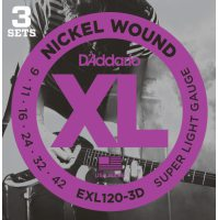 D'Addario - Nickel Wound EXL120-3D 3-Pack Super Light 009-042