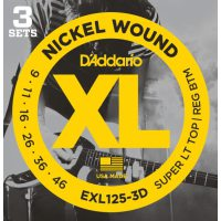 D'Addario - Nickel Wound EXL125-3D 3-Pack Super Light Top/Reg Bottom 009-046