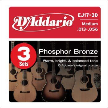 D'Addario - Phosphor Bronze Western EJ17-3D 3-Pack Medium 013-056