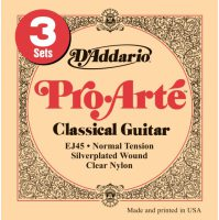 D'Addario - Pro-Arte Klassisk/Spansk EJ45-3D 3-Pack Normal Tension 028-043