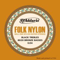 D'Addario - Folk Nylon 80/20 Bronze EJ34 Ball End Black Klassisk/Spansk 028-045