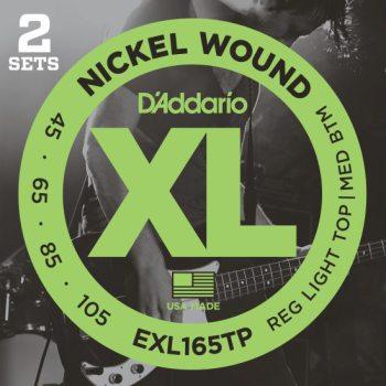 D'Addario - Nickel Round Wound EXL165TP 2-Pack Reg Light Top/Med Bottom 045-105