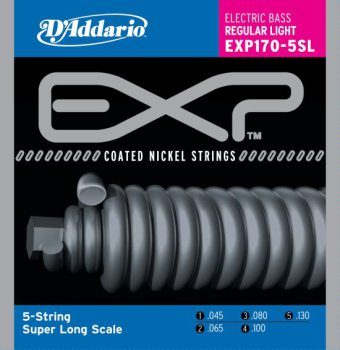D'Addario - EXP Coated Nickel Round Wound EXP170-5SL 5-strängad Regular Light 045-130