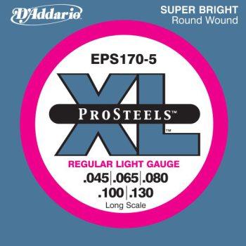D'Addario - ProSteels Round Wound EPS170-5 5-strängad Regular Light 045-130
