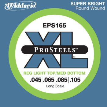 D'Addario - ProSteels Round Wound EPS165 Light Top/Med Bottom 045-105