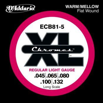 D'Addario - Chromes Flat Wound ECB81-5 5-Strängad Light 045-132
