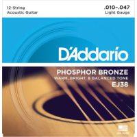 D'Addario - Phosphor Bronze Western EJ38 12-strängad Light 010-047