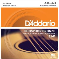 D'Addario - Phosphor Bronze Western EJ41 12-strängad Extra Light 009-045