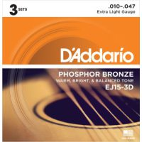 D'Addario - Phosphor Bronze Western EJ15-3D 3-pack Extra Light 010-047