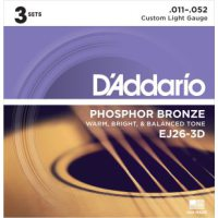 D'Addario - Phosphor Bronze Western EJ26-3D 3-pack Custom Light 011-052