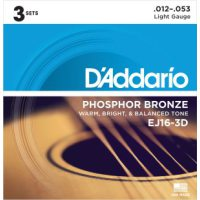 D'Addario - Phosphor Bronze Western EJ16-3D 3-pack Light 012-053