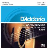 D'Addario - 80/20 Bronze EJ36 12-strängad Western Light 010-047