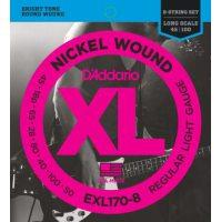 D'Addario - Nickel Round Wound EXL170-8 8-Strängad Regular Light 018-100