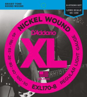 D'Addario - Nickel Round Wound EXL170-8 8-Strängad Regular Light 018-100