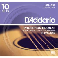 D'Addario - Phosphor Bronze Western EJ26-10P 10-pack Custom Light 011-052