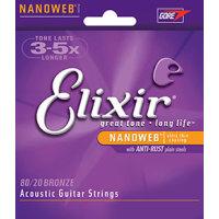Elixir 11308 Acoustic 80/20 Bronze Baritone Nanoweb 016-070