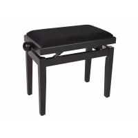 Boston Piano Bench Satin Black/Black Velvet Seat