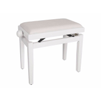 Boston Piano Bench Satin White/White Velvet Seat